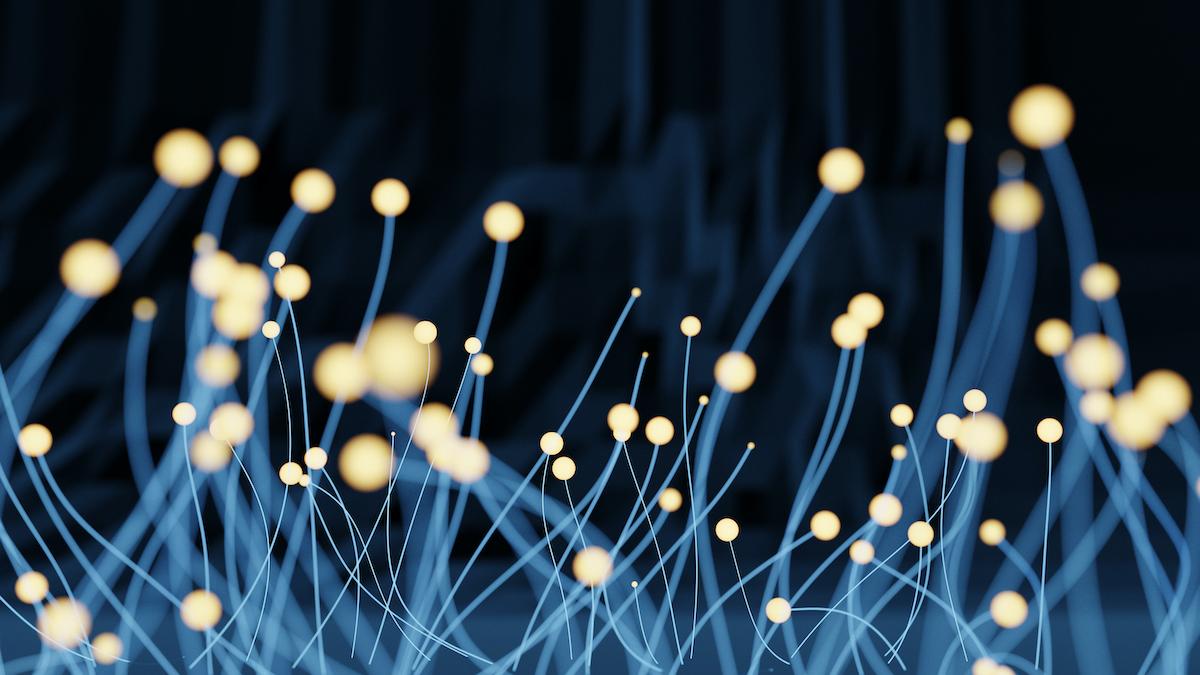 Image 3D représentant un réseau technologique sous forme de filaments avec cercle lumineux sur la pointe