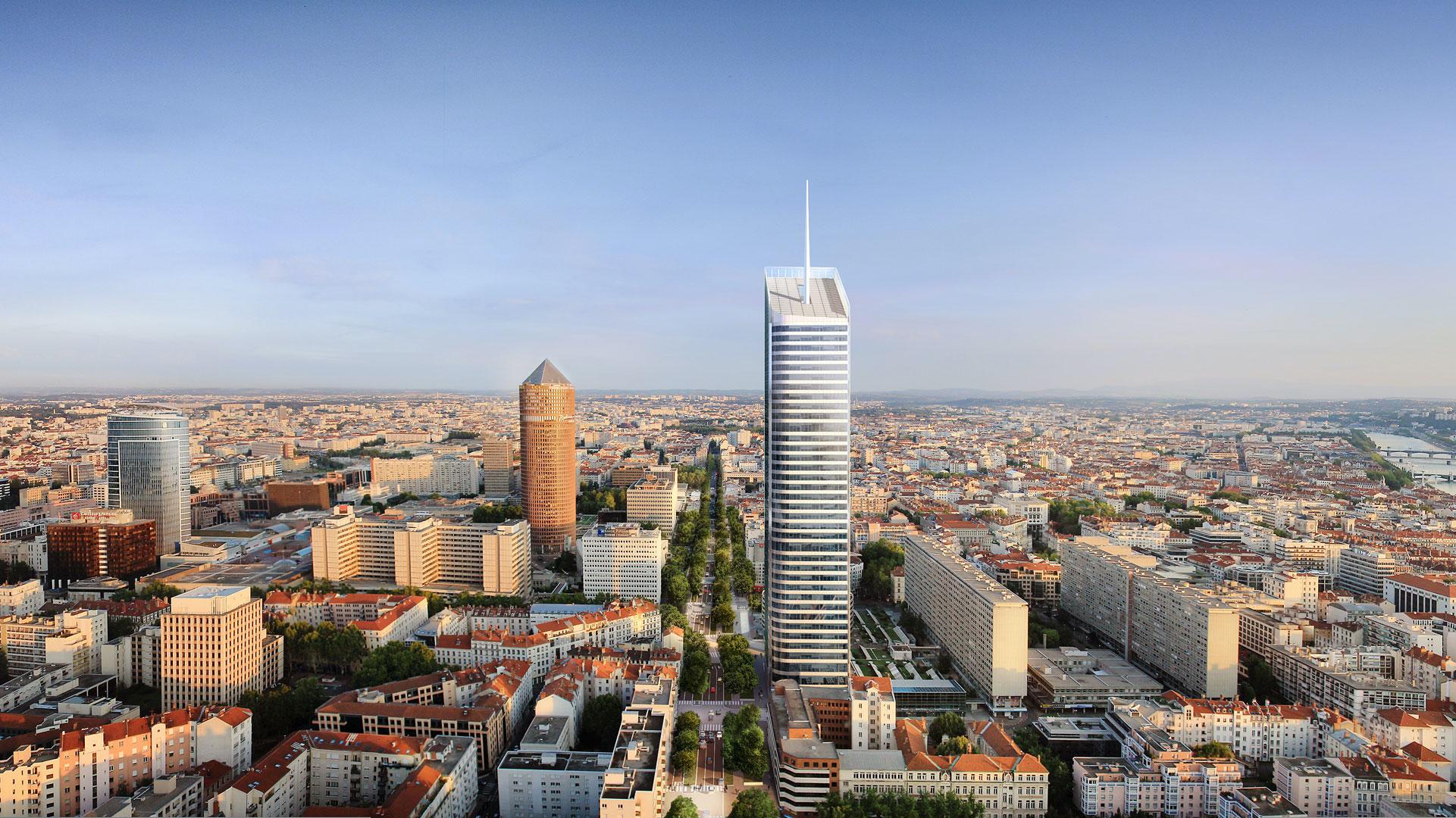 Image aérienne du quartier de la Part Dieu à Lyon avec la Tour Incity au centre